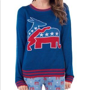 TIPSY ELVES Democratic Sweater Size Medium NEW